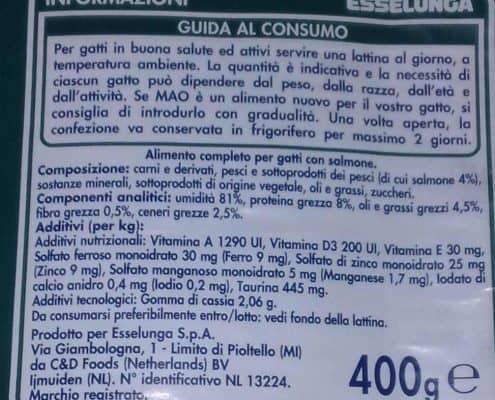 Etichetta cibo per gatti