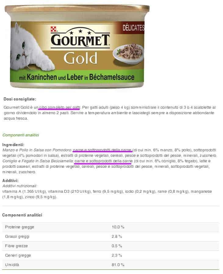 Gourmet gold umido per gatti