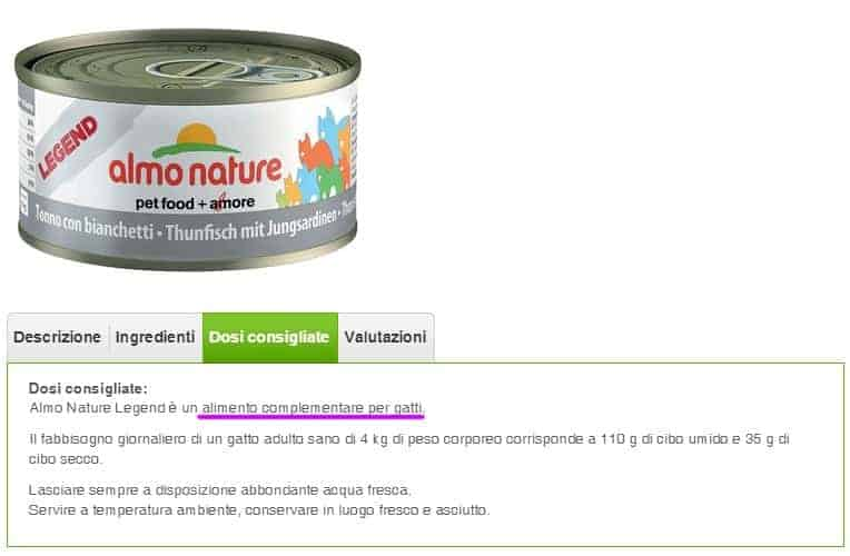 Scatolette almo nature legend cibo umido