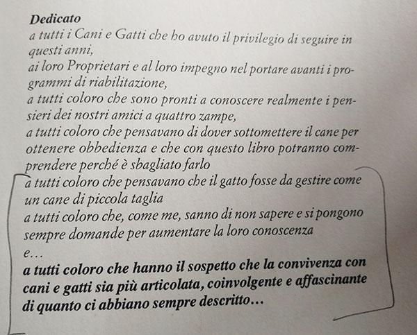 Dedica del libro di Diego Rendini
