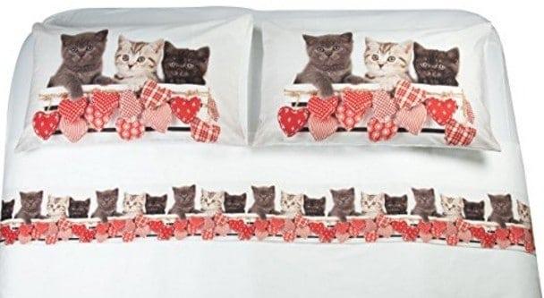 Lenzuola Matrimoniali Con Stampe Animali.Completo Lenzuola Matrimoniale A Tema Gatto Miciogatto It