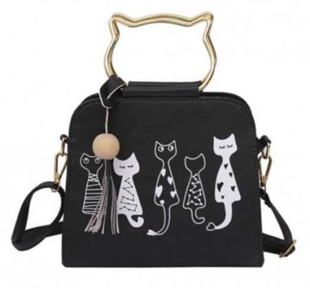 borsa con gatti decorati