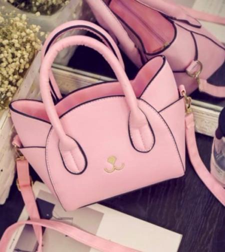 borsa rosa a forma di gatto