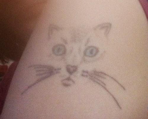 muso di gatto stilizzato tatuaggio