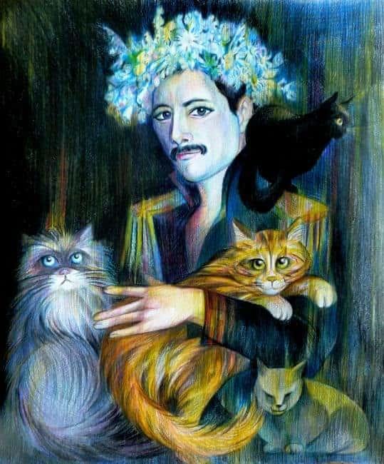 gatti di freddie mercury ritratto