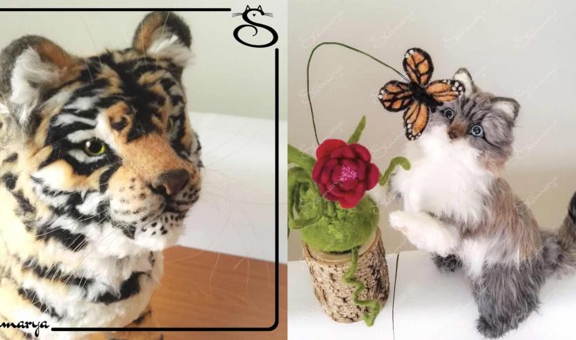 Gatti in miniatura in lana cardata, i capolavori dell'artista Veneta Stelmarya