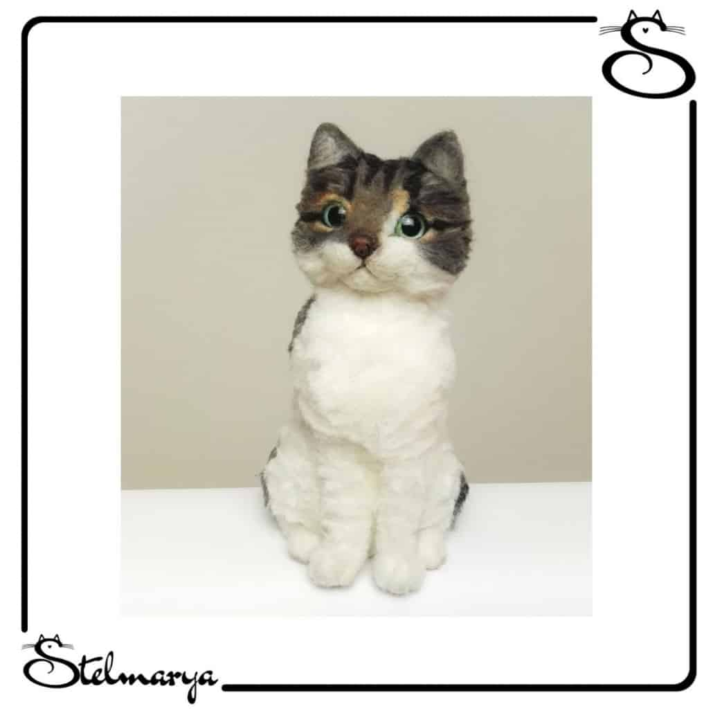 ritratti di gatti in lana cardata