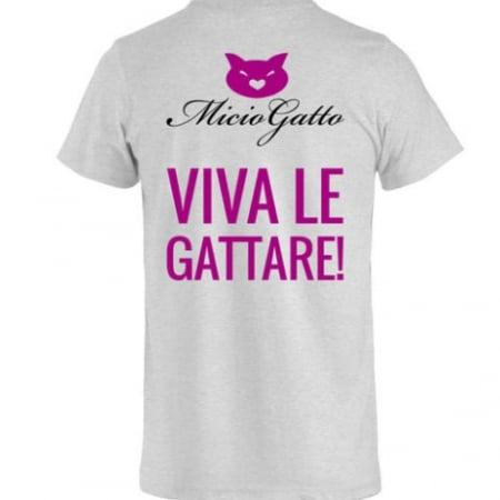t-shirt miciogatto viva le gattare grigia