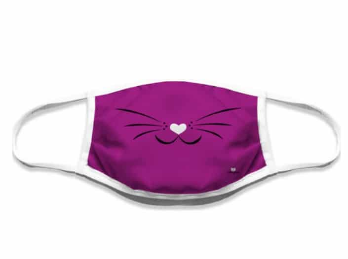 Mascherina lavabile musetto gatto fucsia