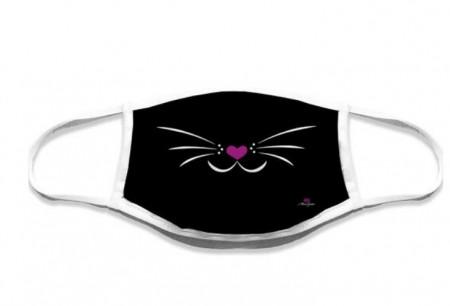 Mascherina lavabile musetto gatto nera