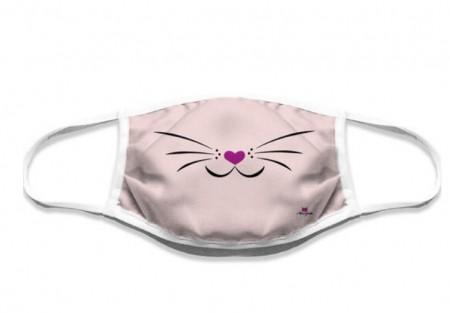 Mascherina lavabile musetto gatto rosa