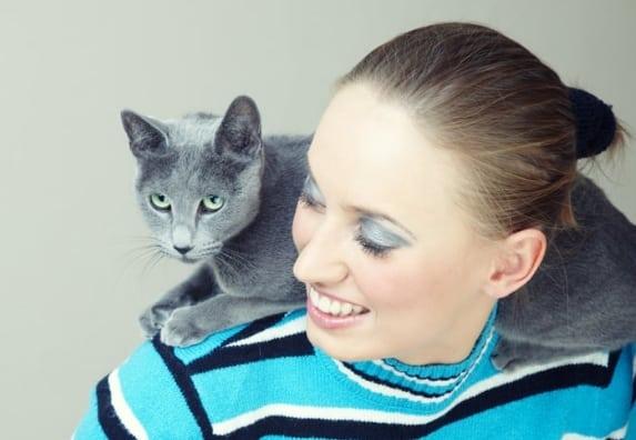 gatto che salta sulle spalle